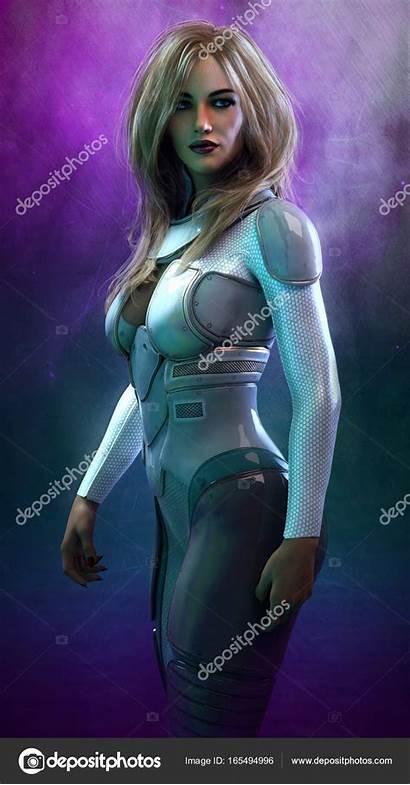 Sci Fi Space Woman Suit Depositphotos