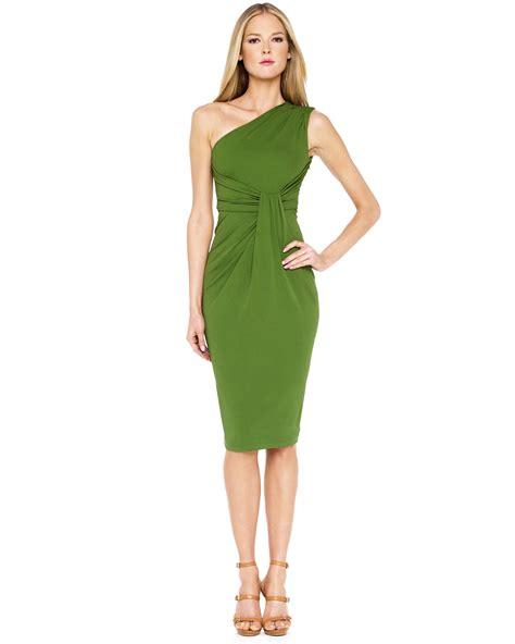 Drape Dress With One Shoulder - michael kors one shoulder jersey drape dress in green lyst