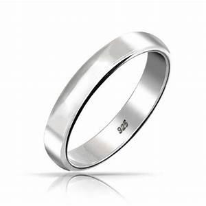 925 sterling silver unisex wedding band ring 4mm for Silver band wedding rings
