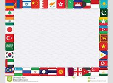 Background With Asian Countries Flags Stock Vector