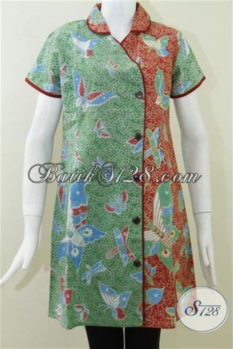 jual dress batik kombinasi warna hijau merah