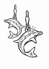 Coloring Jewelry Earrings Dolphin Template Pages sketch template