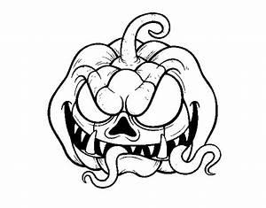 Dibujo de Calabaza terrorífica para Colorear - Dibujos.net