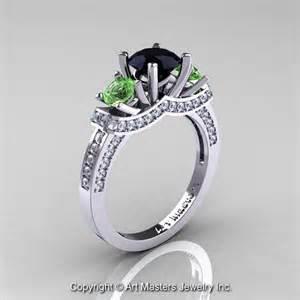 14k white gold three black green topaz engagement ring wedding ring - Black And Green Engagement Ring