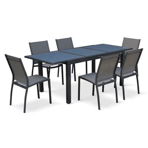 Salon De Jardin Table Et Chaises Salon De Jardin Table Extensible Orlando Gris Fonc 233 Table En Aluminium 150 210cm Et 6