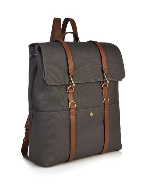 lyst mismo leather strap backpack  gray  men