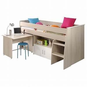 Lit Combiné Bureau : lit 90x200cm combin avec bureau romeo beige ~ Premium-room.com Idées de Décoration