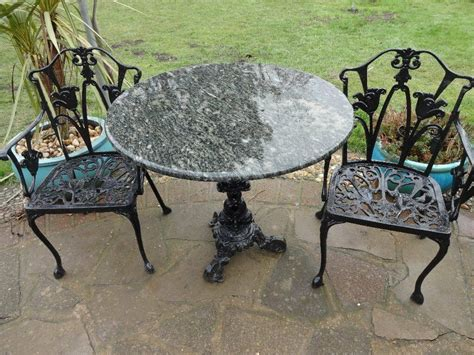 Marble Top Table With Cast Iron Base + 2 Cast Iron Chairs