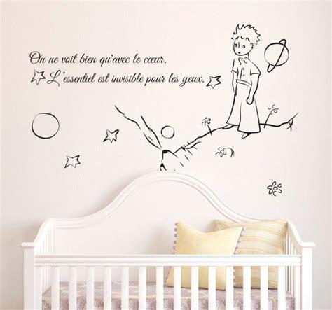 dessin chambre bébé fille sticker citation petit prince essentiel tenstickers