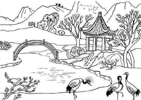 sketsa pemandangan alam dan hewan sketsa gambar flora