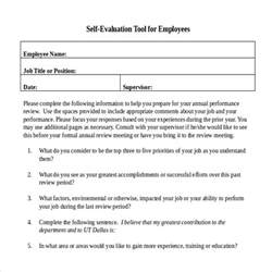 Employee Self Evaluation Performance Review Examples