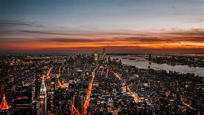 Skyline Night York Sunset Sky Dusk 4k
