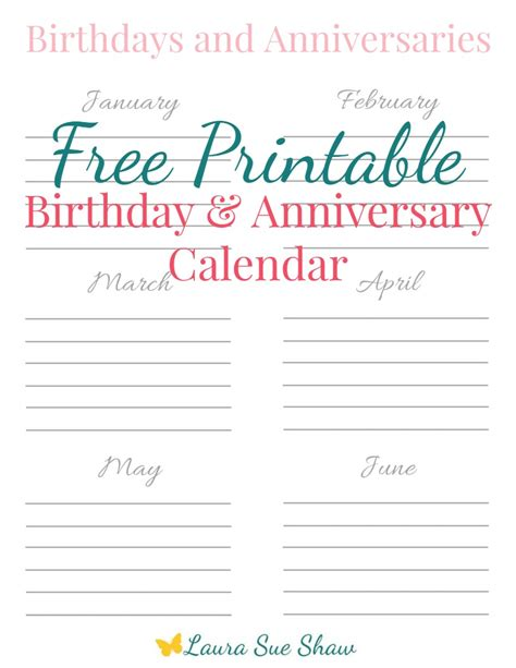 Birthday And Anniversary Calendar Template by Free Printable Birthday Anniversary Calendar Sue
