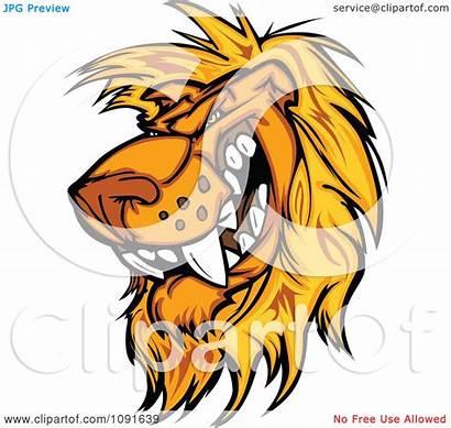 Lion Mascot Vicious Head Clipart Male Illustration