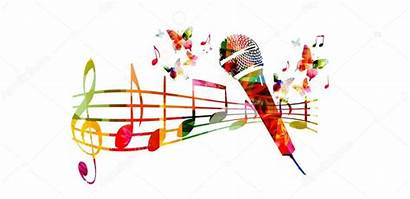 Microphone Notes Colorful Clipart Musical Vector Background