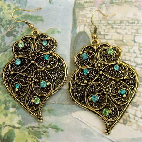 viana portuguese folk gold filigree heart earrings