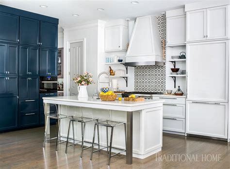 Before And After Cool Blue Kitchen  Traditional Home