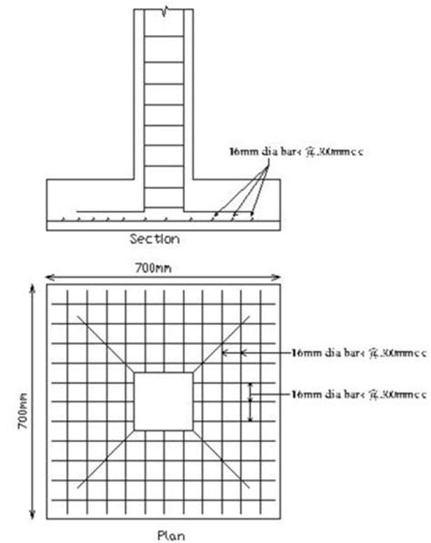 design squish concrete base column footing plan and section foundation design adi durga steel pvt ltd pinterest