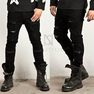 Zipper Accent Coated Black Distressed Slim Jeans 149 96298