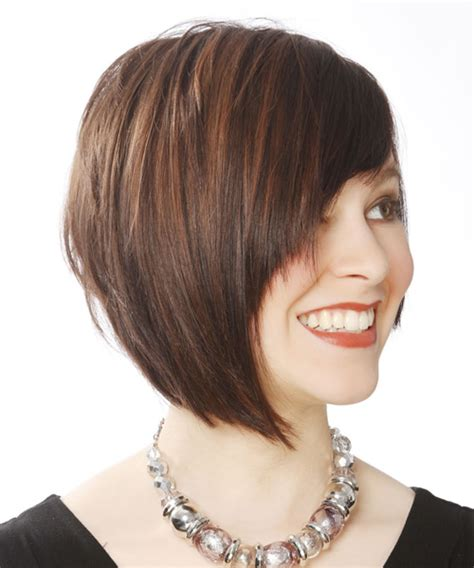 casual short straight layered bob hairstyle  side