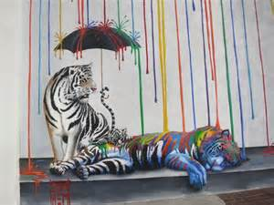 Background Colorful Rainbow Tigers
