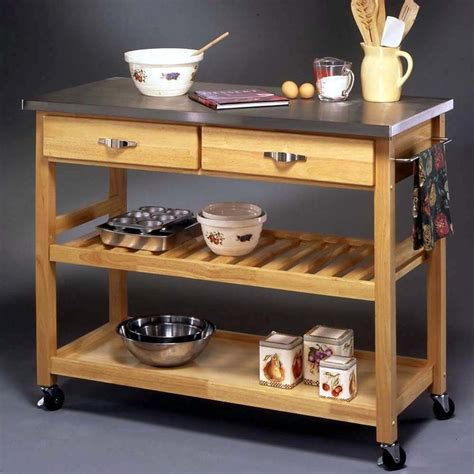 stainless steel kitchen island with butcher block top stainless steel top kitchen cart storage island rolling