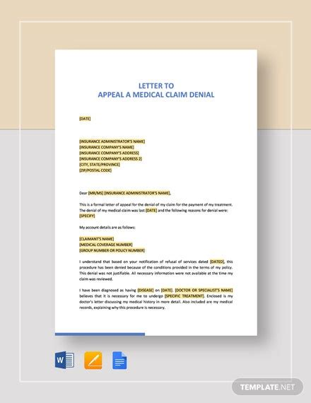 letter  appeal  medical claim denial template word
