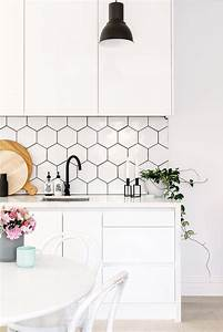 36 eye catchy hexagon tile ideas for kitchens digsdigs With kitchen colors with white cabinets with flower 3d wall art