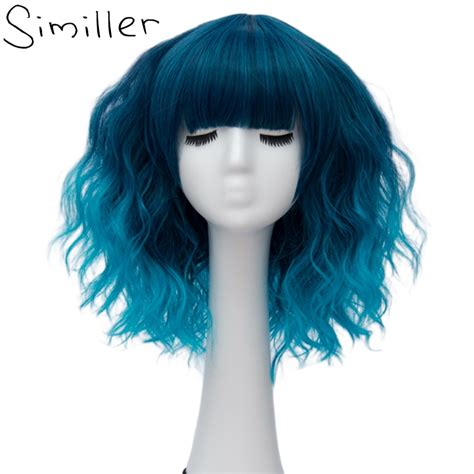 Similler Ombre Blonde Blue Gray Party Cosplay Wig Short