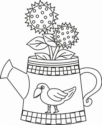 Coloring Watering Sunflower Pages Printable Crow Sunflowers