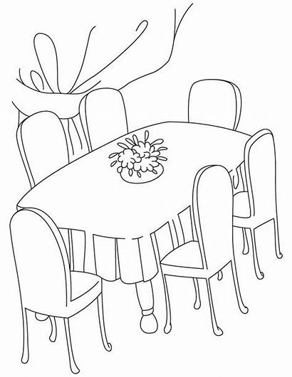 Dining Table Coloring Clipart Pages Dinner Drawing