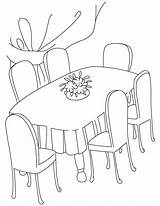 Coloring Dining Table Clipart Drawing Kitchen Dinner Printable Cliparts Clip Furniture Drawings Quilt Library Coloringtop sketch template