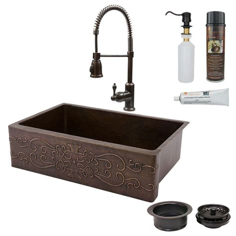 kitchen sink cls premier copper products all in one undermount hammered 2618