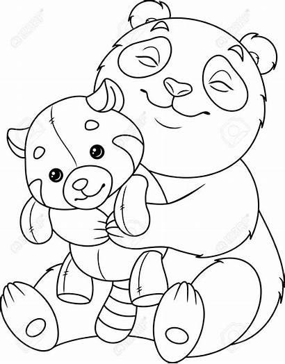 Panda Coloring Pandas Hugging Hug Spielzeug Malvorlagen