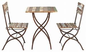 Table De Jardin Bois Et Metal : collioure table 2 chaises de jardin en bois recycl et m tal effet vieilli l 6 ~ Teatrodelosmanantiales.com Idées de Décoration