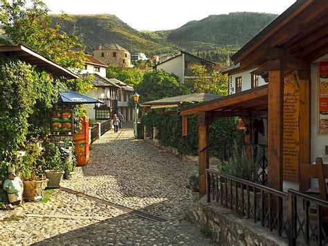 photo cobblestone streets  mostar bosnia herzegovina