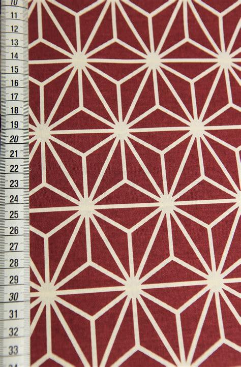 tissu japonais gros motif asanoha rouge bordeaux diy