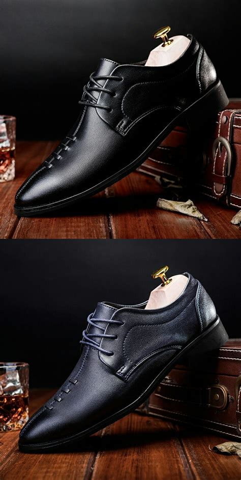 Prelesty Swag Retro Office Men Dress Shoes Pointed Toe