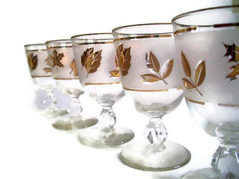 Mid Century Libbey Glasses, Gold Leaf, From Merrily Verily
