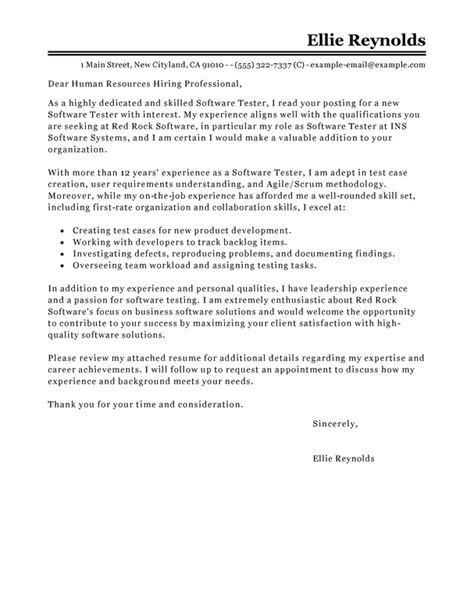 Cover Letter For Testing Resume by Best Software Testing Cover Letter Exles Livecareer