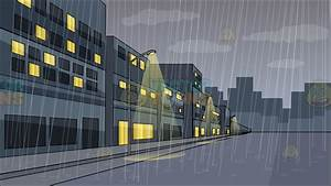 A Rainy Day In The City Background Cartoon Clipart ...