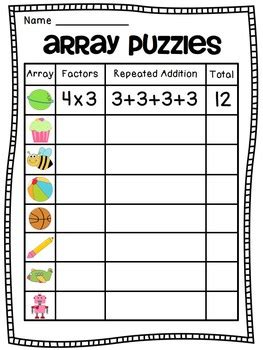 arrays arrays arrays by miss giraffe teachers pay teachers