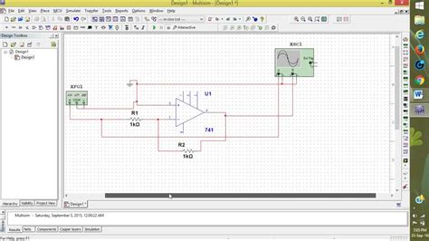 Inverting Amplifier Using Multisim Youtube