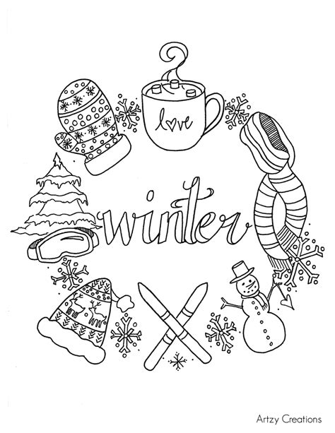winter coloring page artzycreationscom