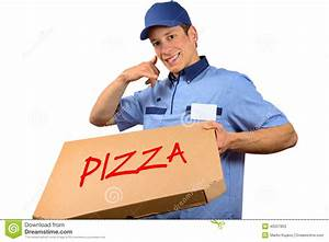 Smiling Pizza Delivery Man Holding Pizza Box Stock Photo ...