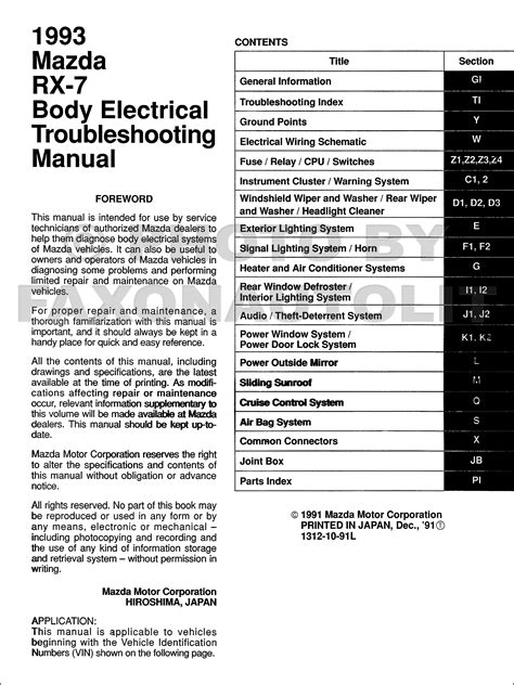 electric and cars manual 1995 mazda rx 7 auto manual 1993 mazda rx 7 body electrical troubleshooting manual original