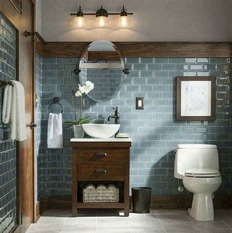 Modern Rustic Bathroom Tile by Rustic And Modern Bathroom Blue Grey Glass Tiles