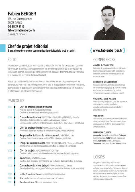Type De Cv by Cv Type Chef De Projet