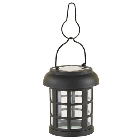 essential garden small hanging solar lantern black