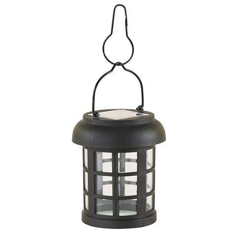 Essential Garden Small Round Hanging Solar Lantern Black